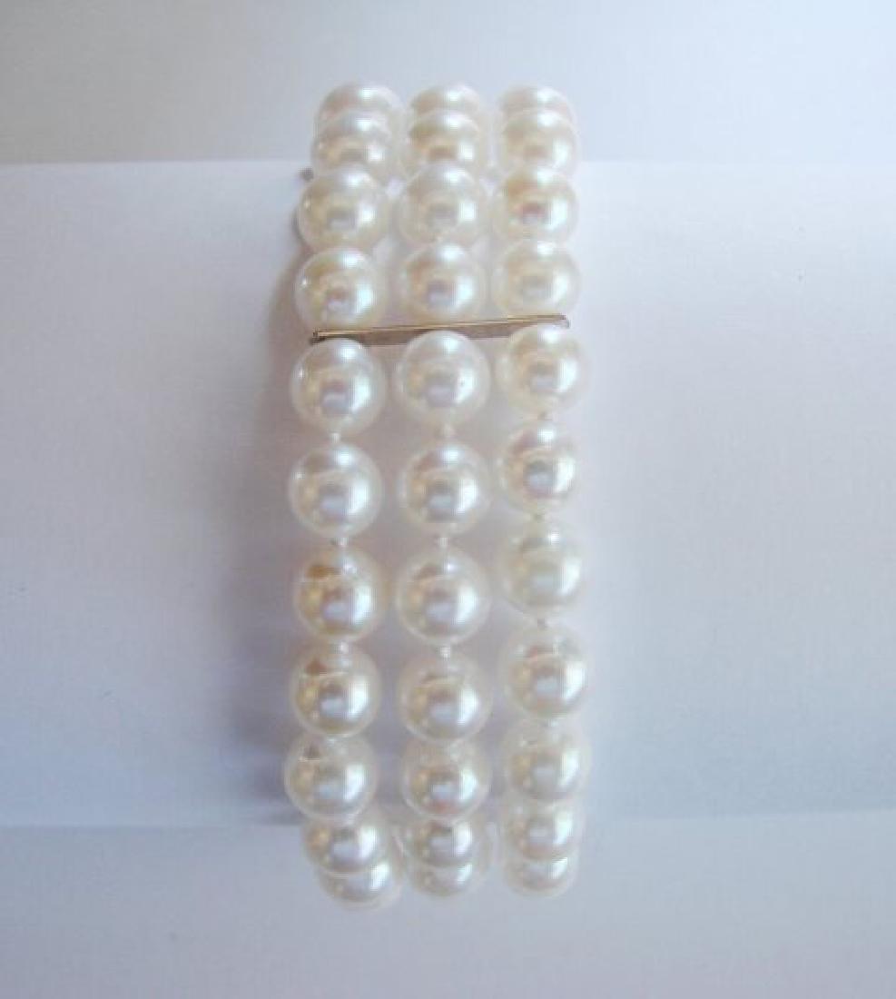 7mm Akoya 3 Strand Bracelet 6-7mm 14k White Gold Clasp - 3