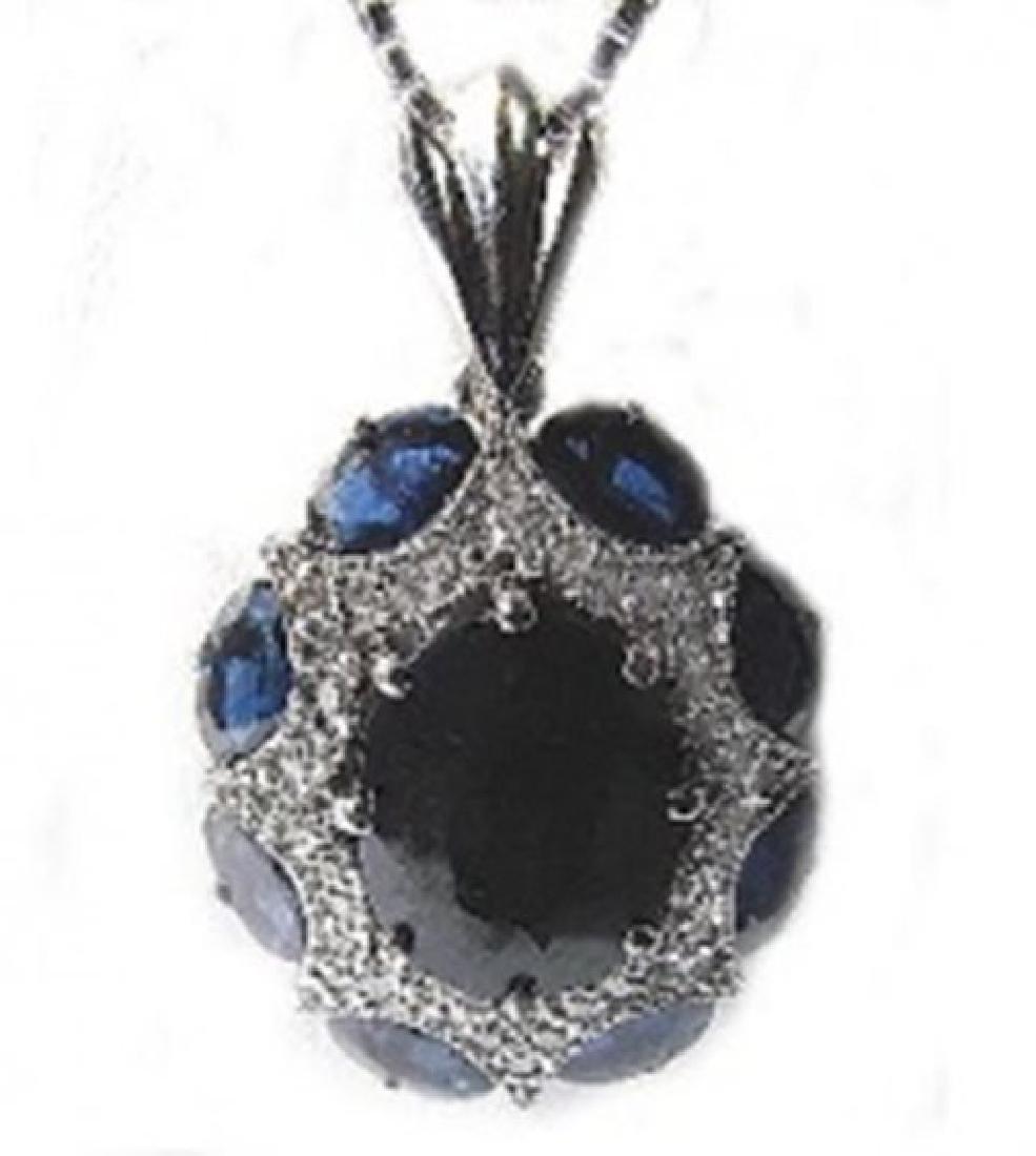 Blue Sapphire Pendant 14.00Ct Dia:1.00Ct 14k W/g