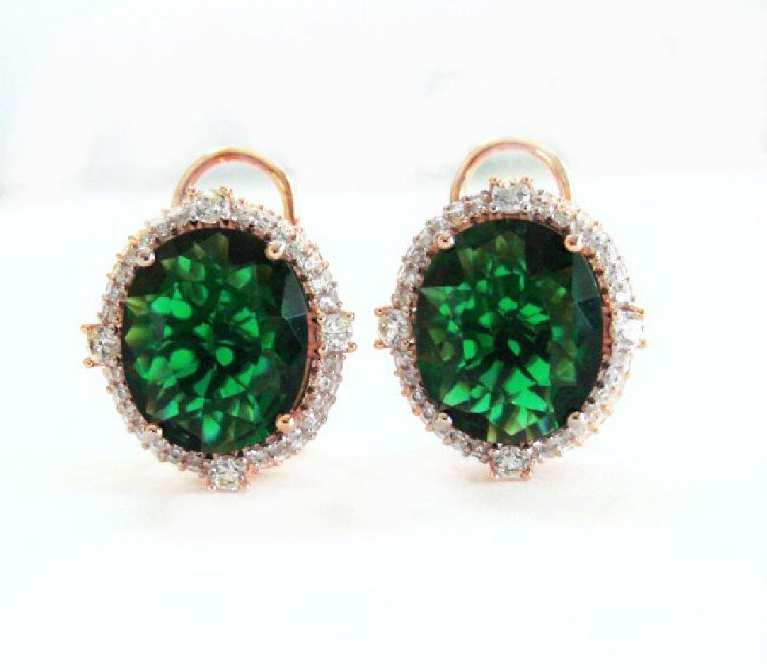 Creation Green Tourm Dia-Earring13.68Ct 18k R/g Overlay
