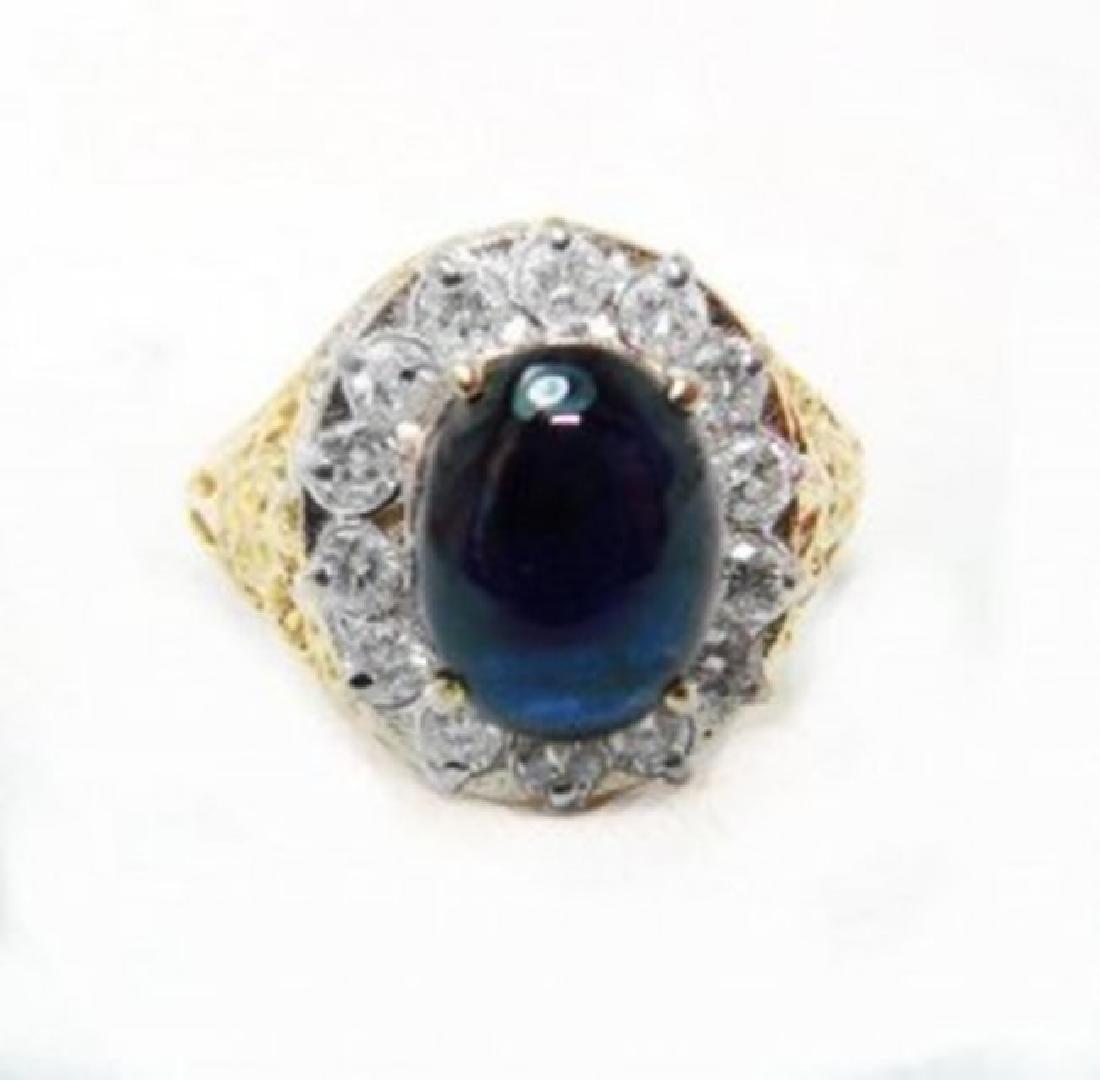 Blue Sapphire Diamond Ring 2.22Ct 18k W/g