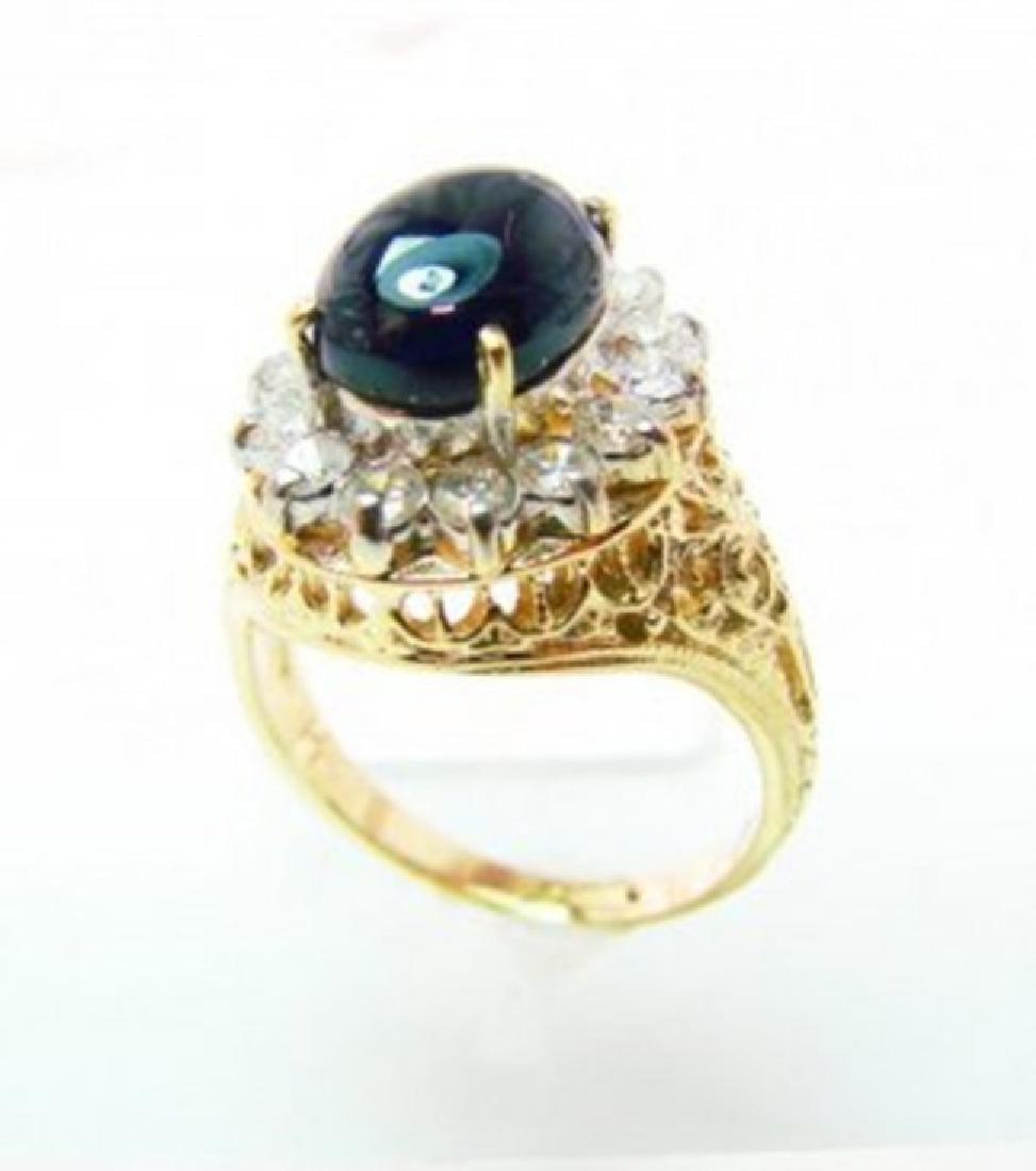 Blue Sapphire Diamond Ring 2.22Ct 18k W/g - 2