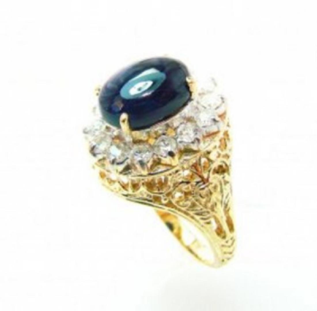Blue Sapphire Diamond Ring 2.22Ct 18k W/g - 3