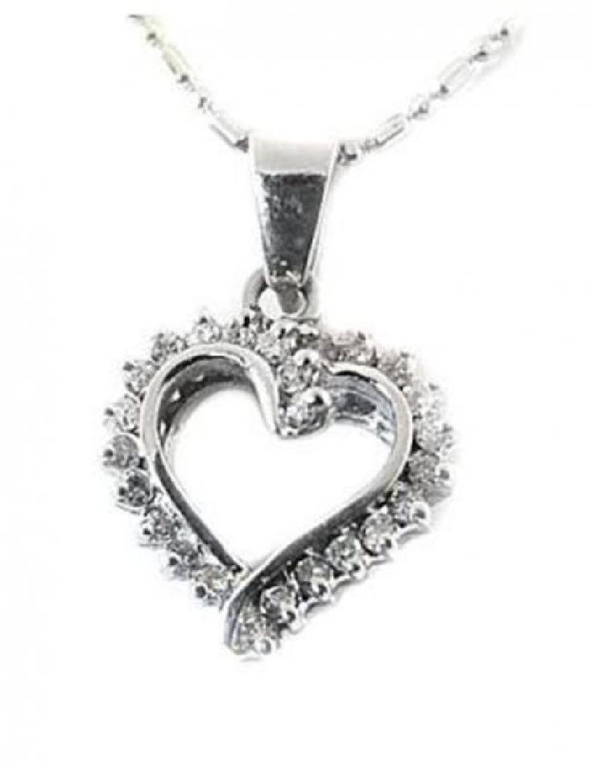 Heart Diamond Pendant .75 Carat with 14k in W/G