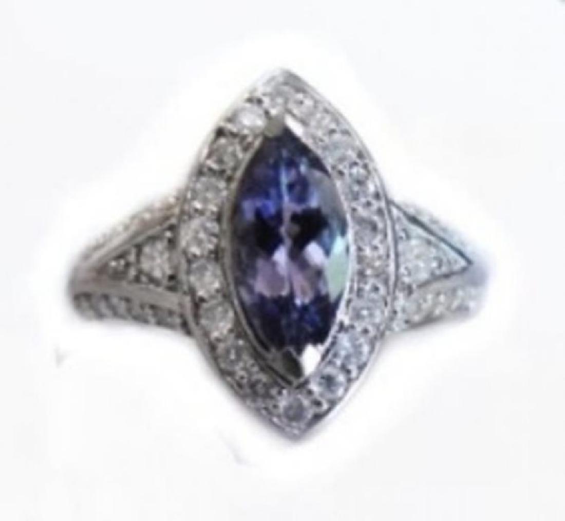 Tanzanite Ring  2.10CT Diamond:1.15 CT 14k W/G