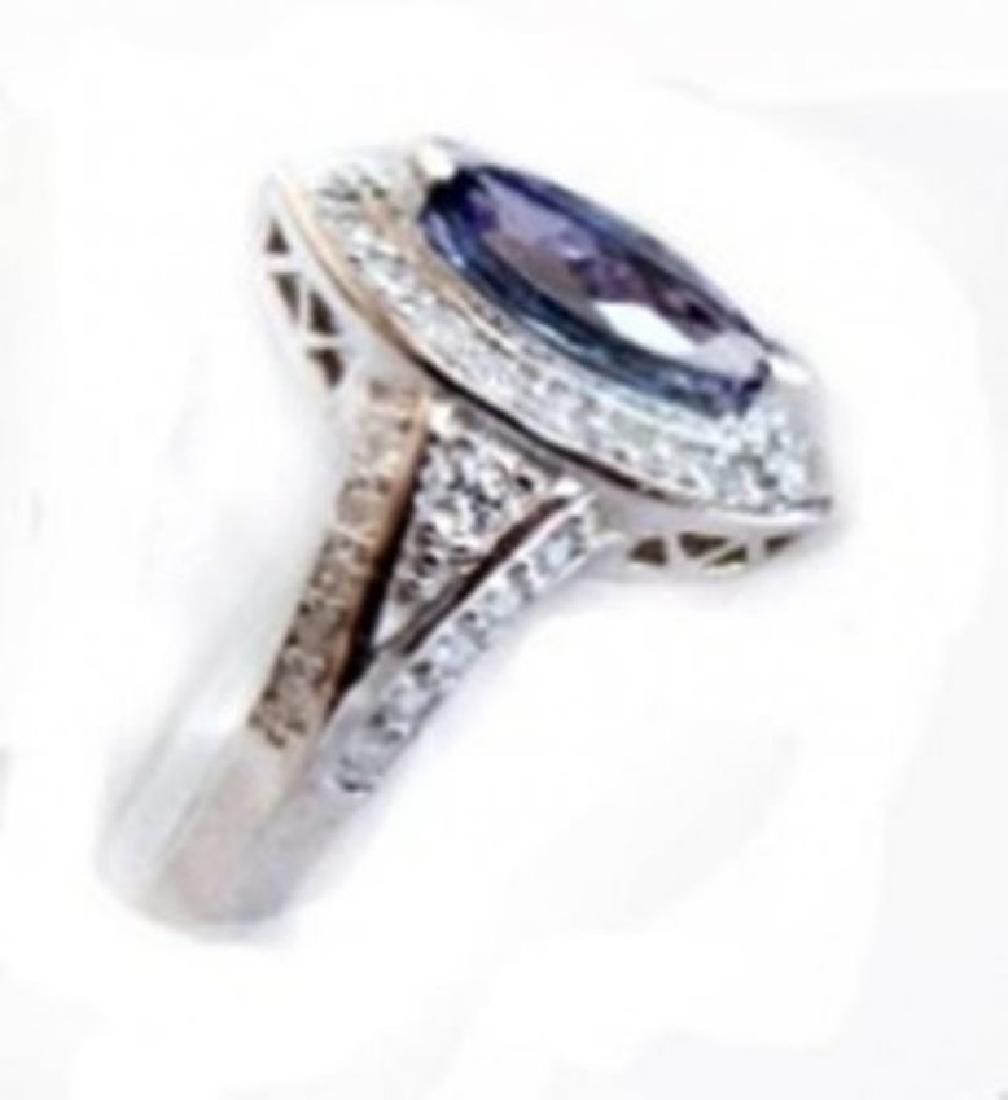 Tanzanite Ring  2.10CT Diamond:1.15 CT 14k W/G - 2