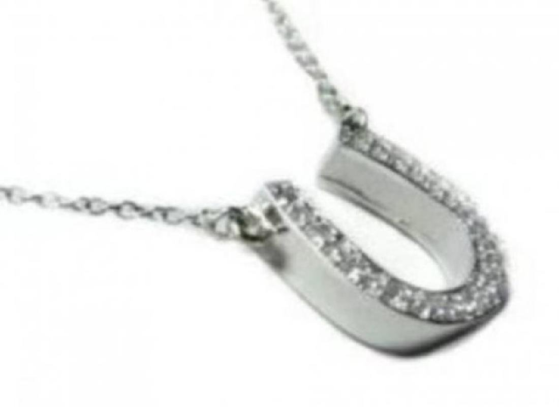 hores Shoe Diamond Necklace Setting in 14k W/g - 2