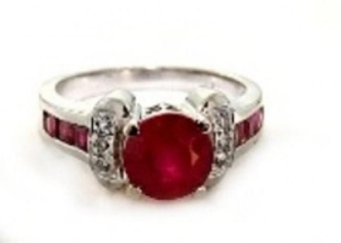 Anniversary Ruby Diamond Ring 2.81Ct 14k W/g