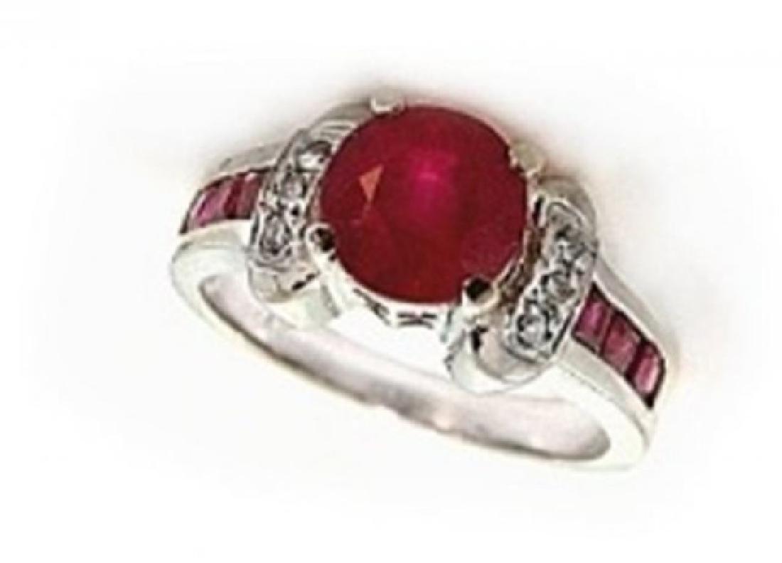 Anniversary Ruby Diamond Ring 2.81Ct 14k W/g - 2
