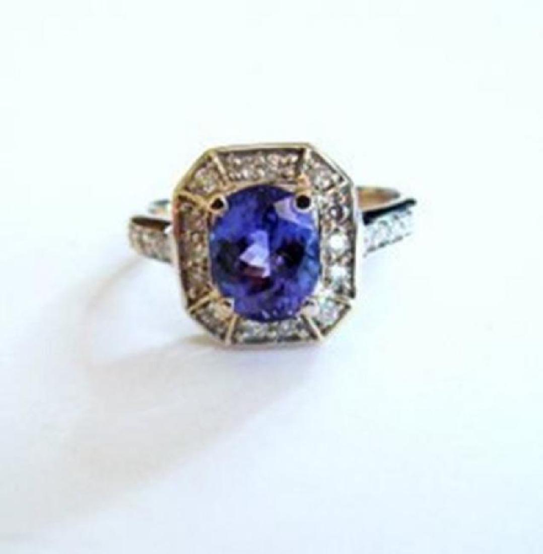 NatureTanzanite & Diamond Ring 4.87Ct 14k Y/g