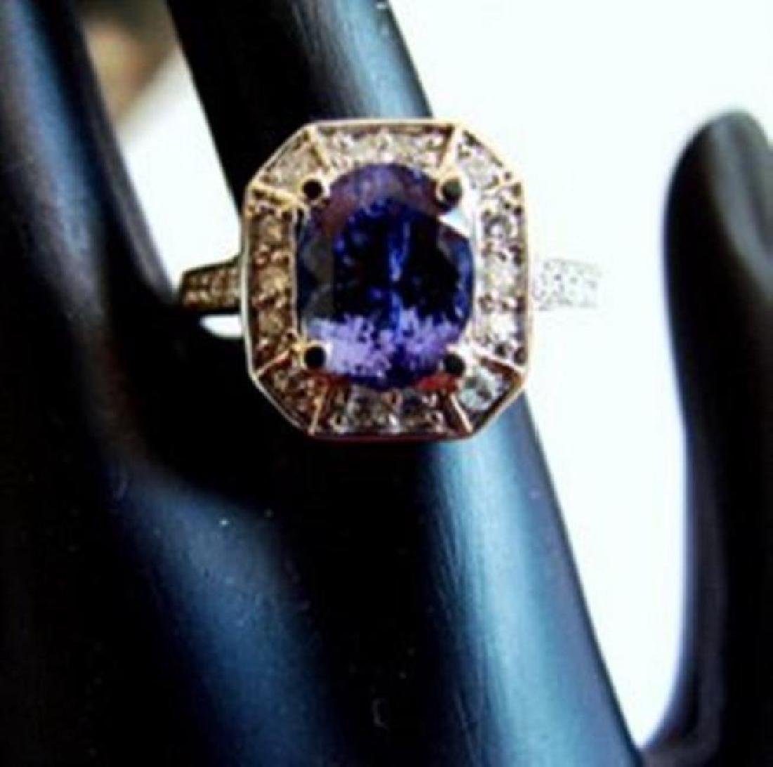 NatureTanzanite & Diamond Ring 4.87Ct 14k Y/g - 2