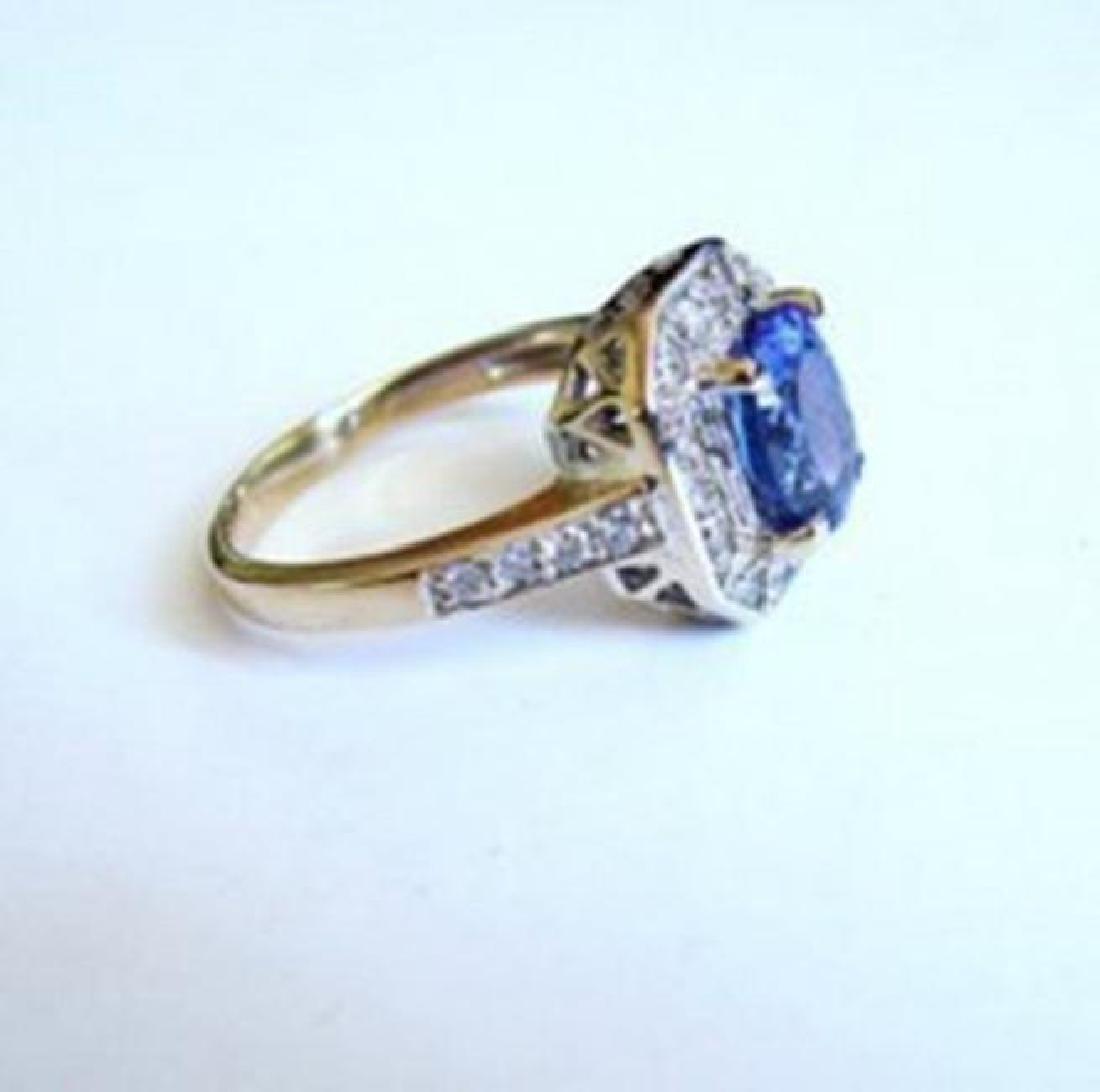 NatureTanzanite & Diamond Ring 4.87Ct 14k Y/g - 4