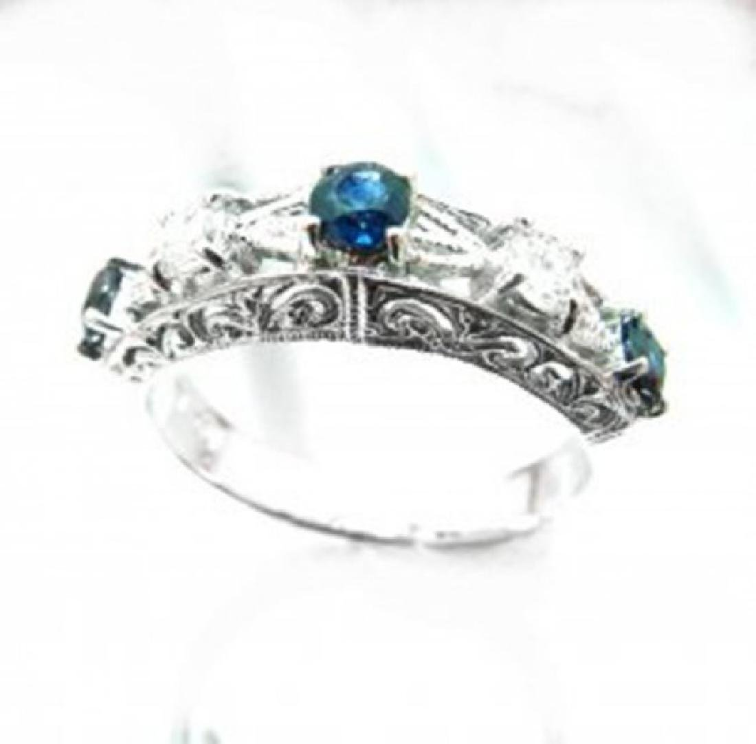 Anniversary Ring Blue Sapphire Diamond 1.01Ct 14k W/g