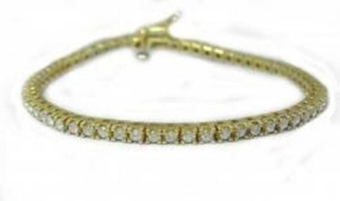 Tennis Diamond Bracelet 3.15 Carat 14k Y/G