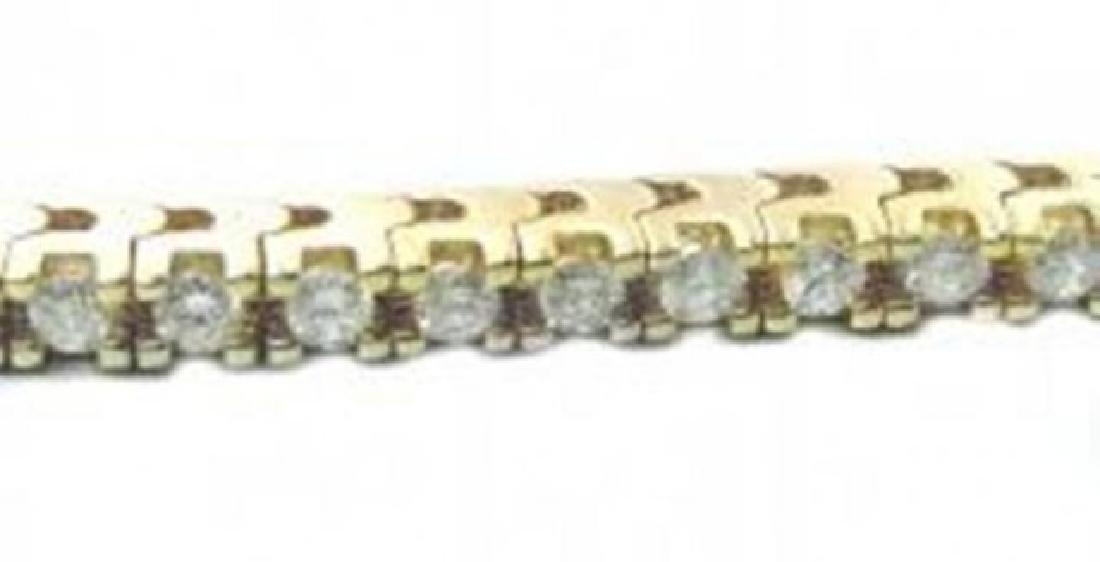 Tennis Diamond Bracelet 3.15 Carat 14k Y/G - 2