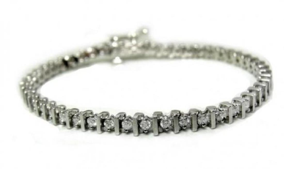 Tennis Diamond Bracelet 2.94 Carat 14k White Gold