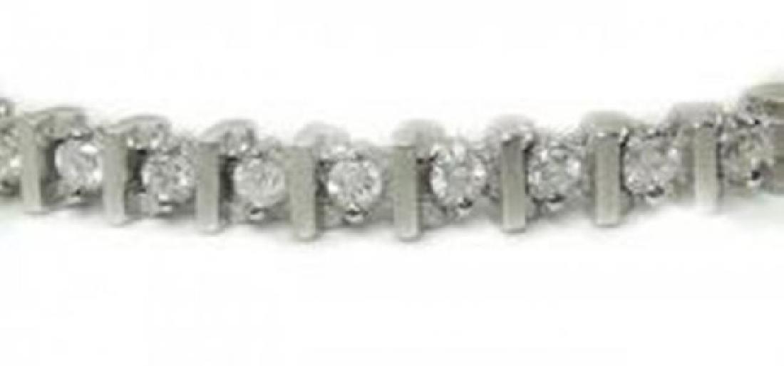 Tennis Diamond Bracelet 2.94 Carat 14k White Gold - 2