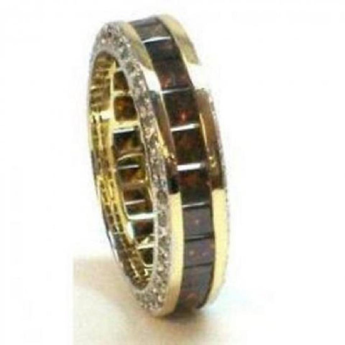Brown/White Diamond Eternity Ring 4.81Ct 14k Y/g