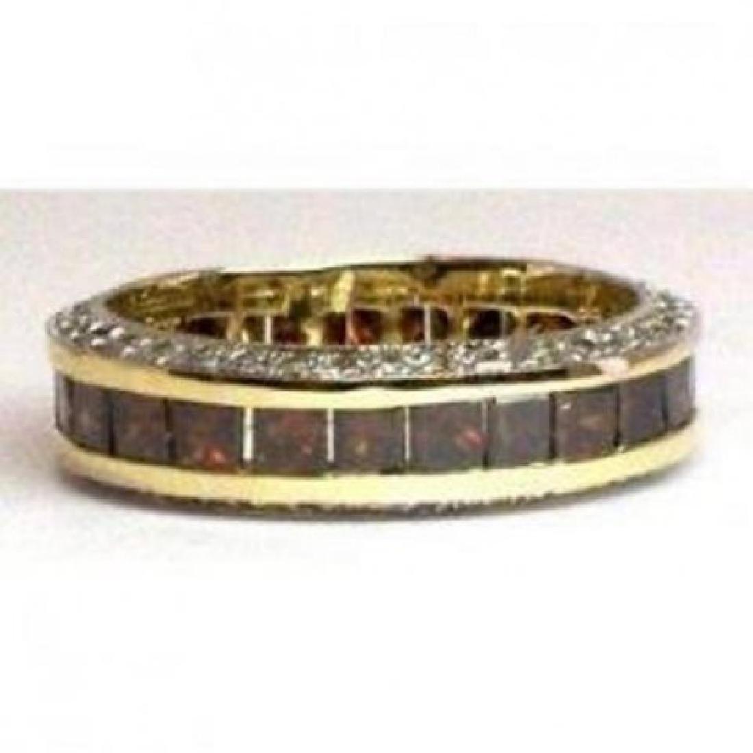 Brown/White Diamond Eternity Ring 4.81Ct 14k Y/g - 2