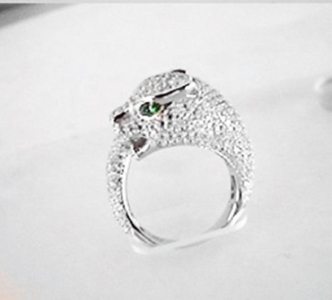 Creation Diamond Juguar Ring 3.65Ct18k W/G Overaly