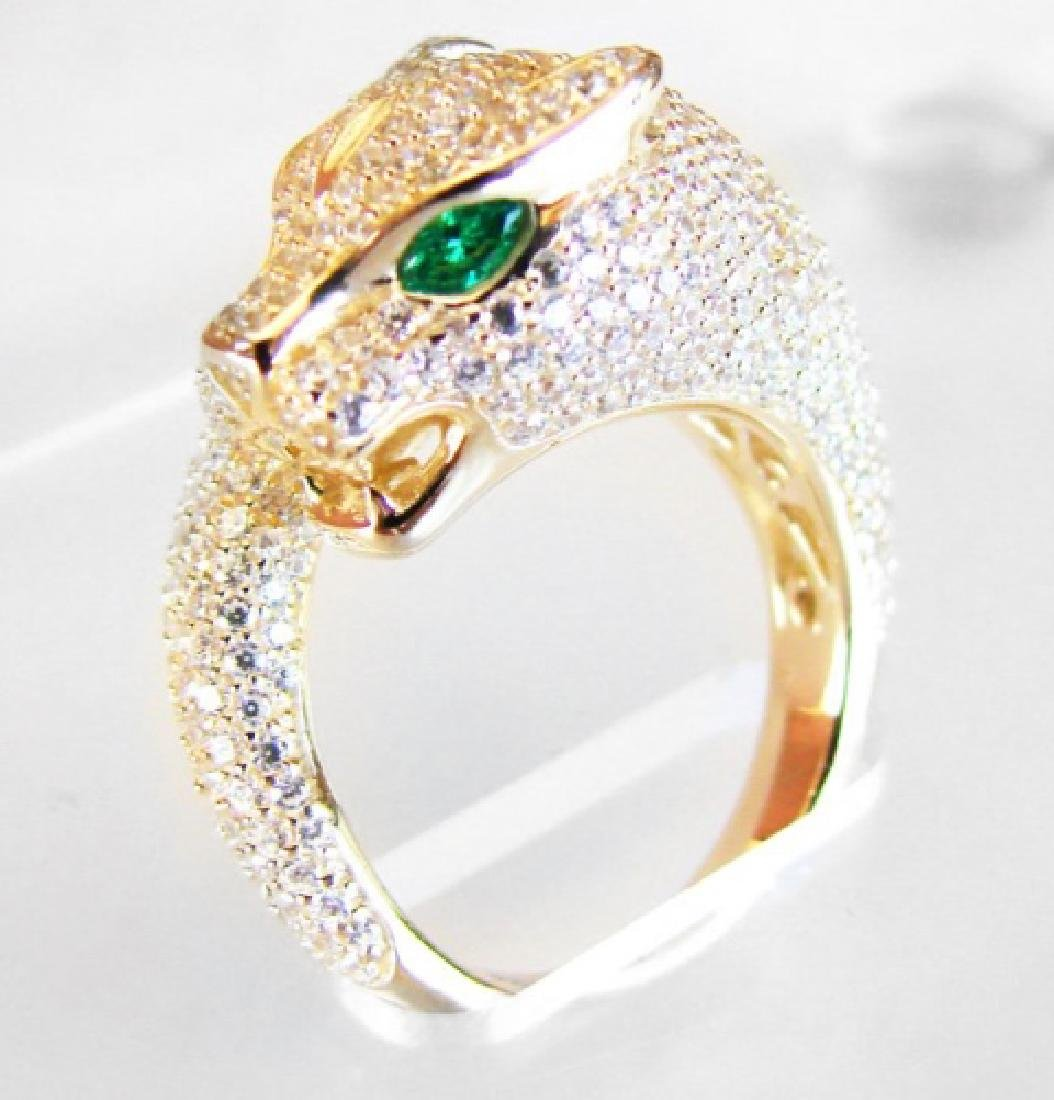 Creation Diamond Juguar Ring 3.65Ct18k Y/G Overaly
