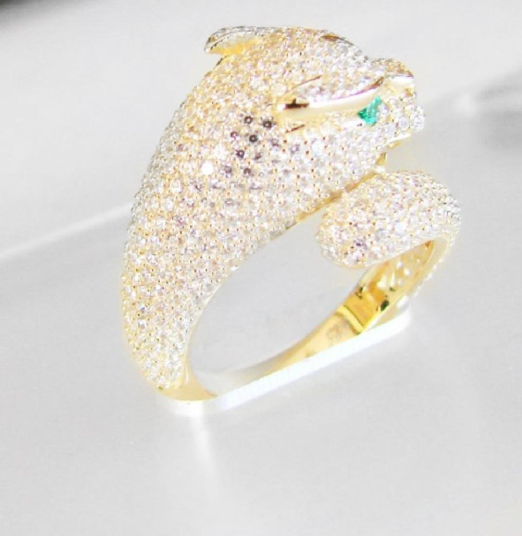 Creation Diamond Juguar Ring 3.65Ct18k Y/G Overaly - 3