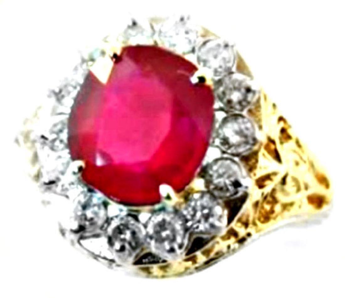 Ruby Diamond Ring 3.90Ct 14k Y/g
