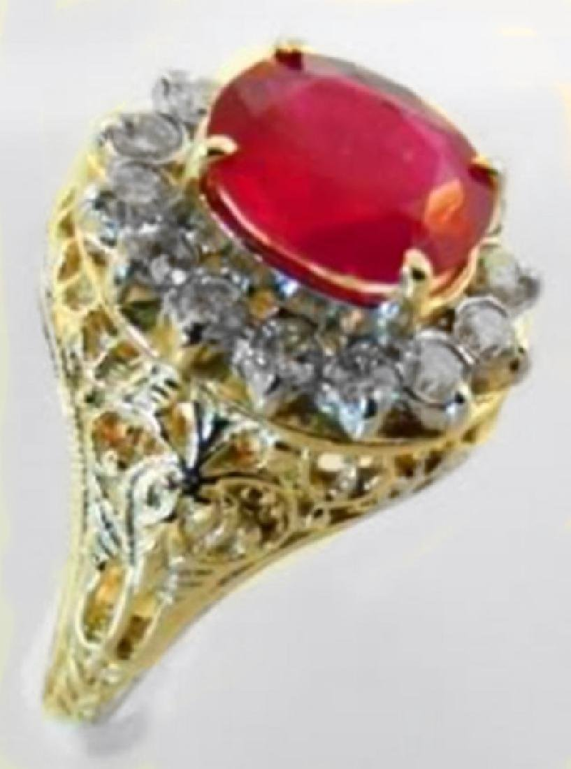Ruby Diamond Ring 3.90Ct 14k Y/g - 3