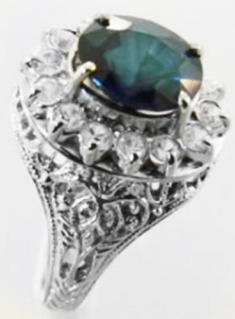 Blue Sapphire Diamond Ring 3.84Ct 14k W/g - 2