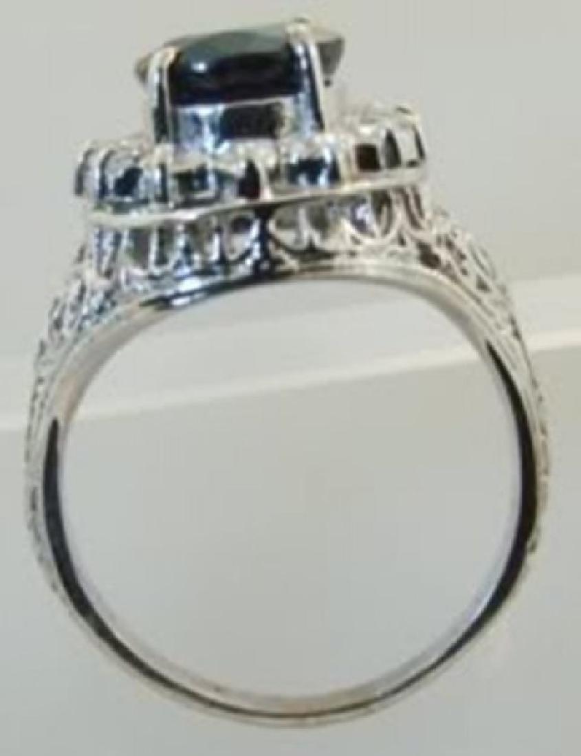 Blue Sapphire Diamond Ring 3.84Ct 14k W/g - 3