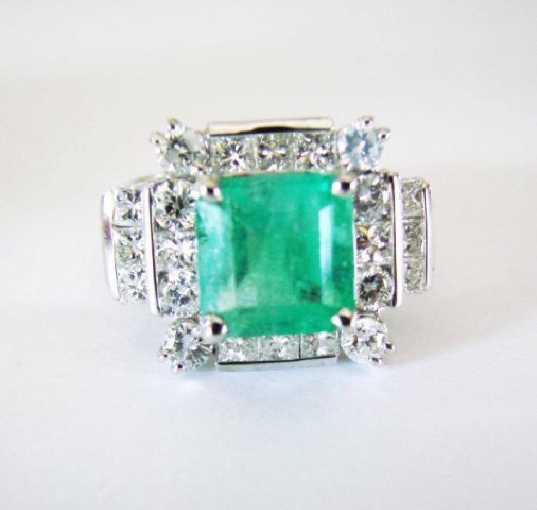 Natural Emerald Diamond Ring 4.74Ct 14k W/g