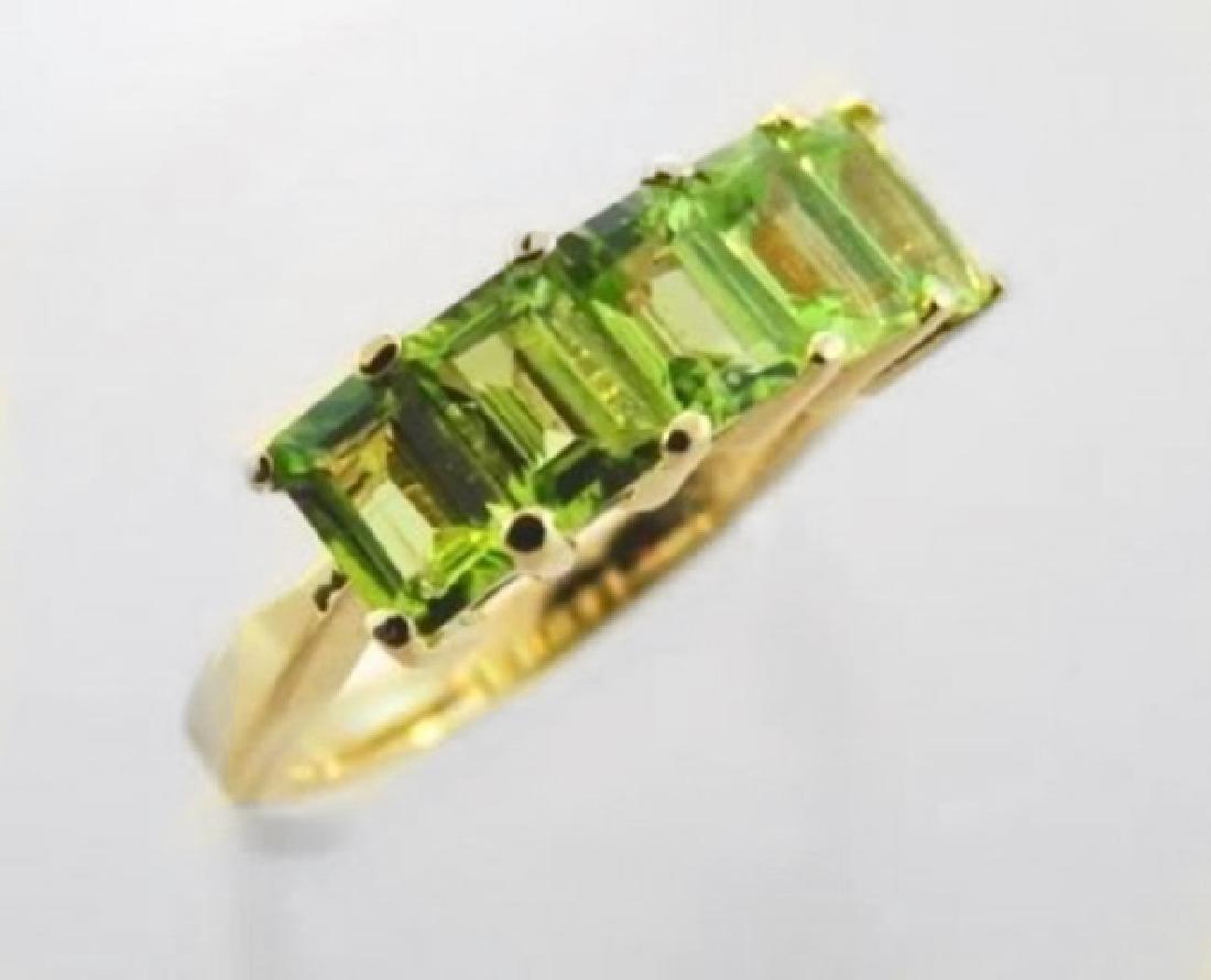 Peridot Emerald Shape Ring 3.75 Carat  14k Y/g - 2