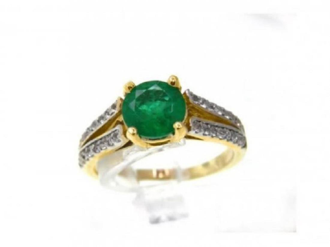 Emerald Ring 1.22Ct & Diamond .34Ct 14k Y/g