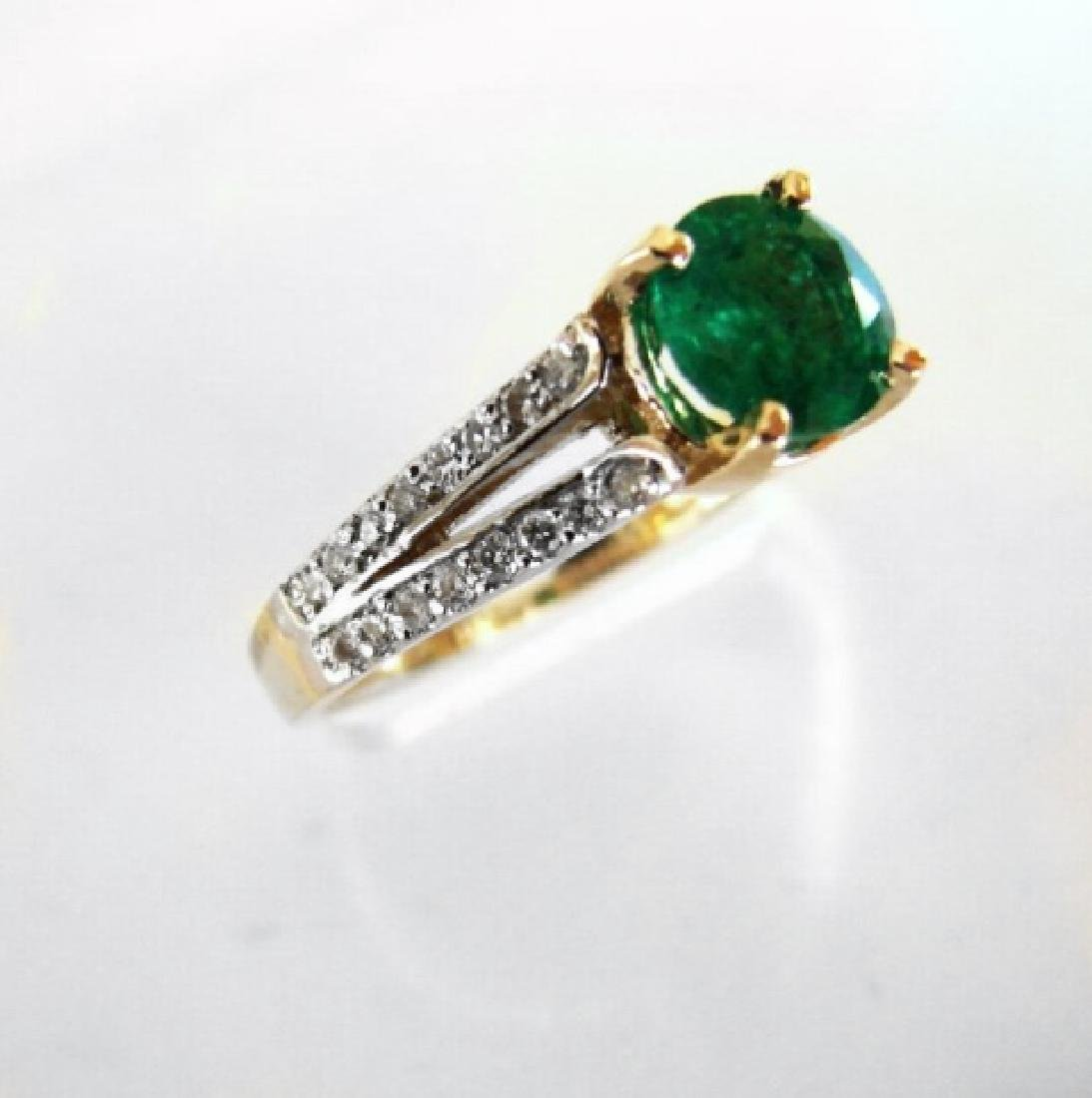 Emerald Ring 1.22Ct & Diamond .34Ct 14k Y/g - 2