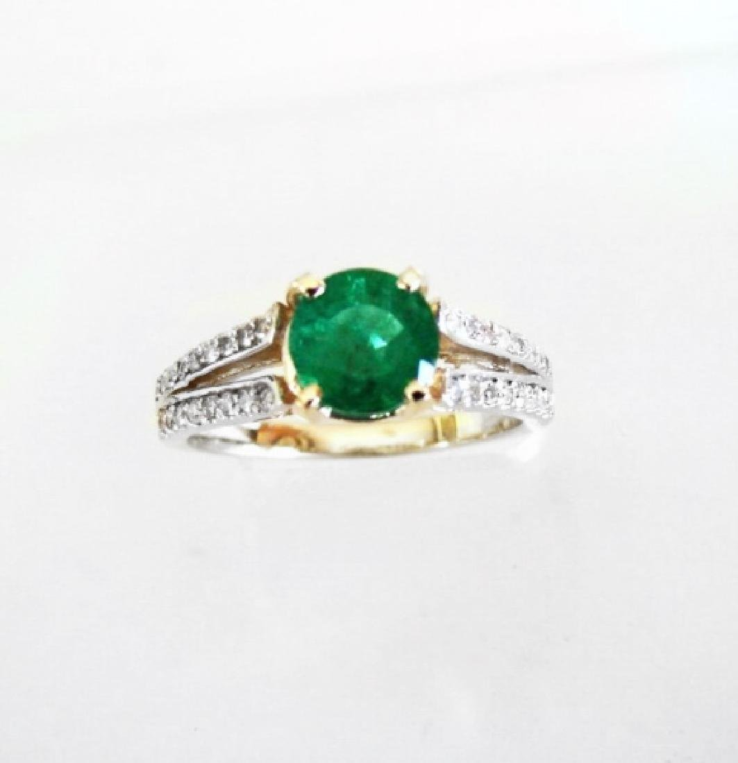 Emerald Ring 1.22Ct & Diamond .34Ct 14k Y/g - 3