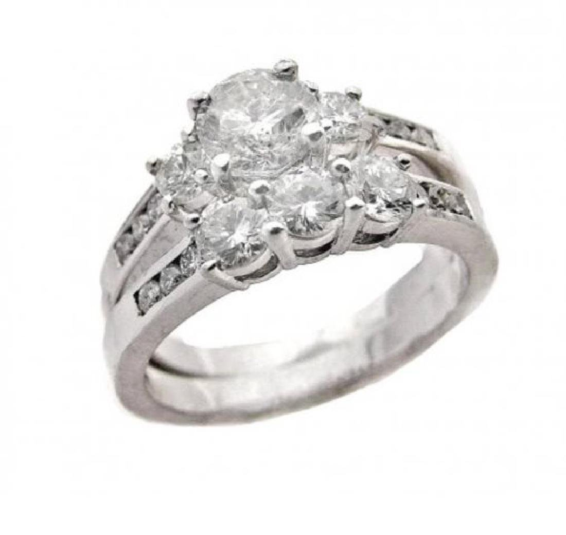 Wedding Set Diamond Ring 2.06 Carat with 14k W/G - 2