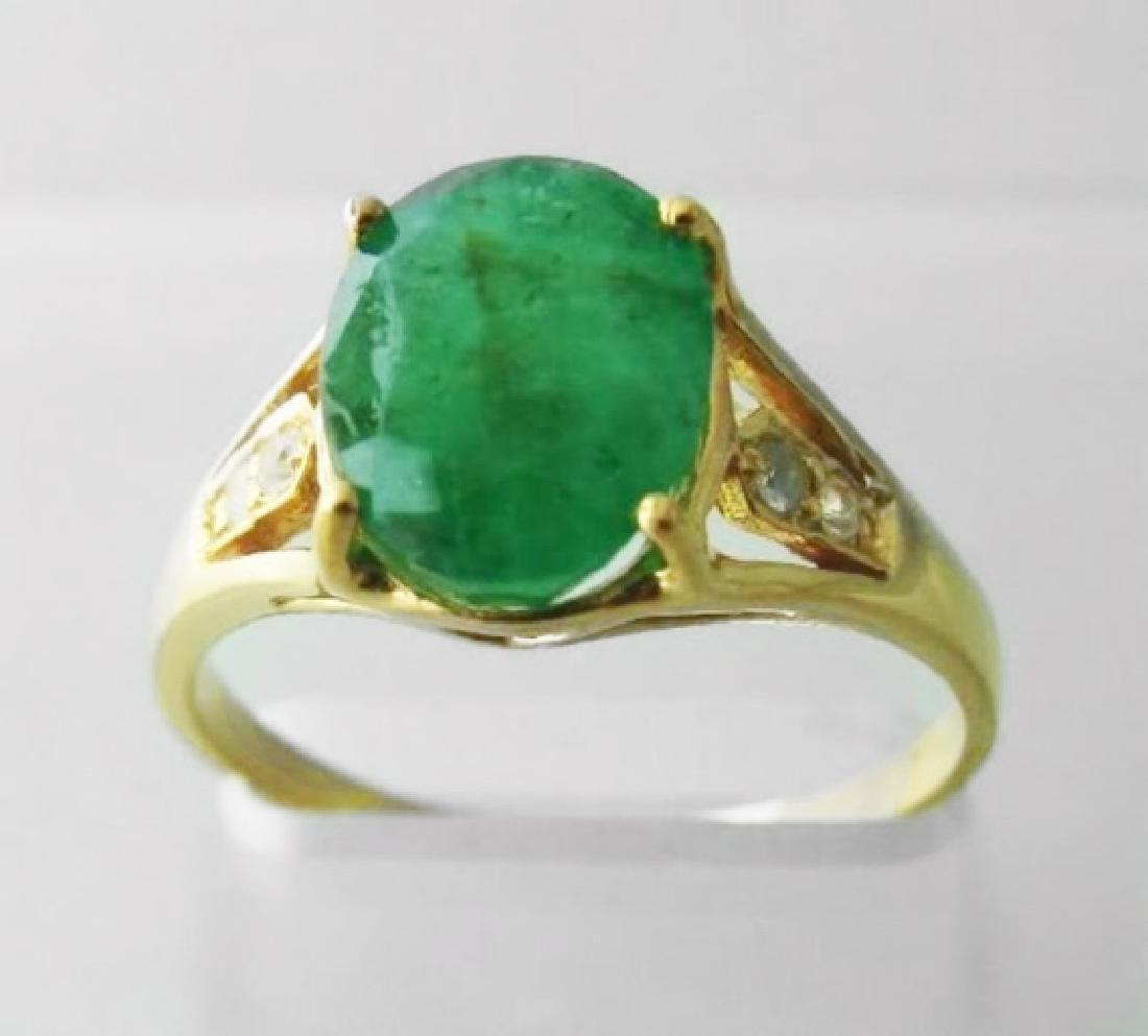 Emerald:2.81CT&White Sapphire:.12CT 14k Y/G