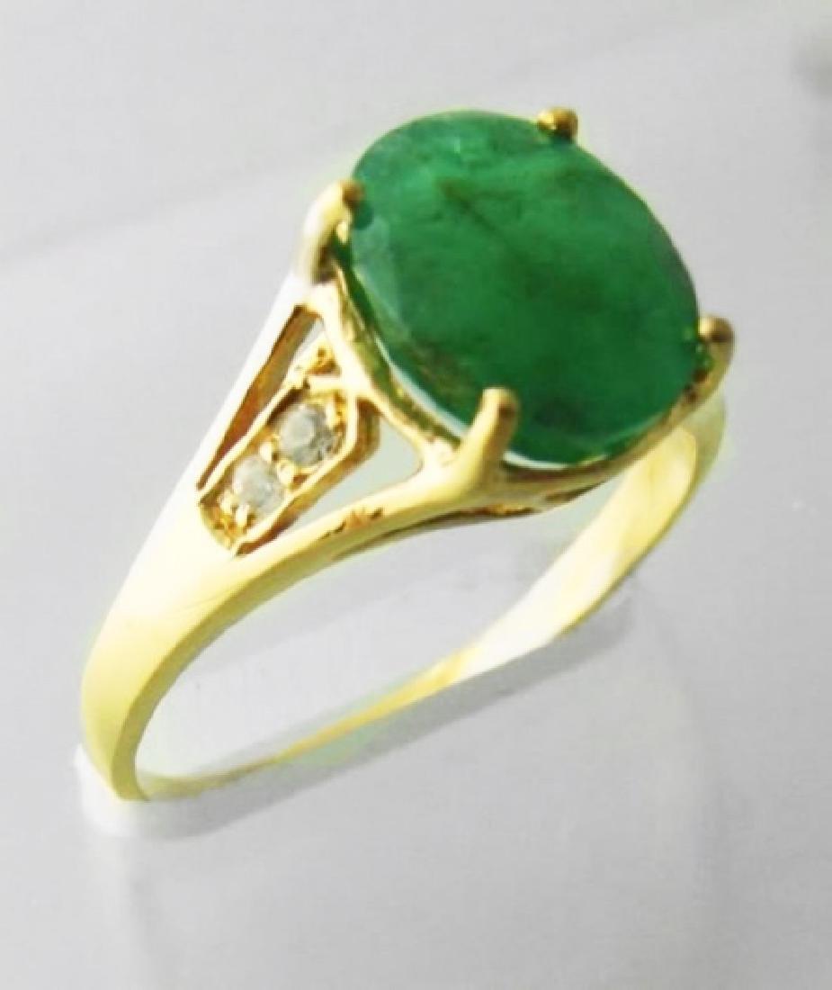 Emerald:2.81CT&White Sapphire:.12CT 14k Y/G - 2