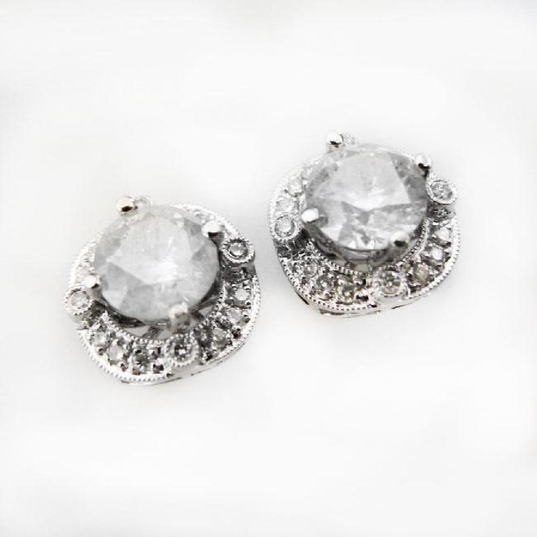 Jacket Stud Earrings Diamond 3.03Ct 18K White Gold - 2