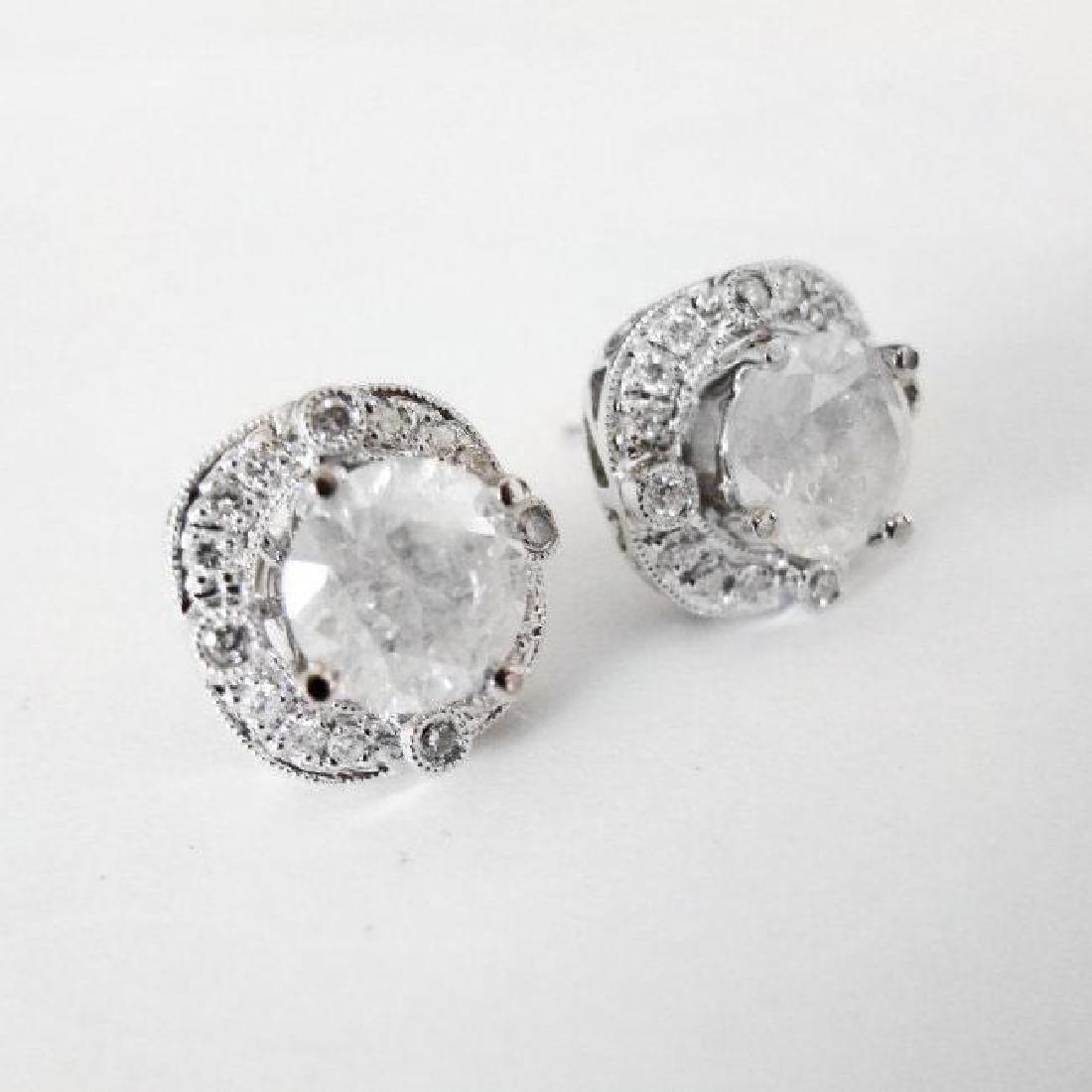Jacket Stud Earrings Diamond 3.03Ct 18K White Gold - 3