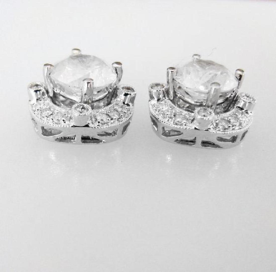 Jacket Stud Earrings Diamond 3.03Ct 18K White Gold - 4