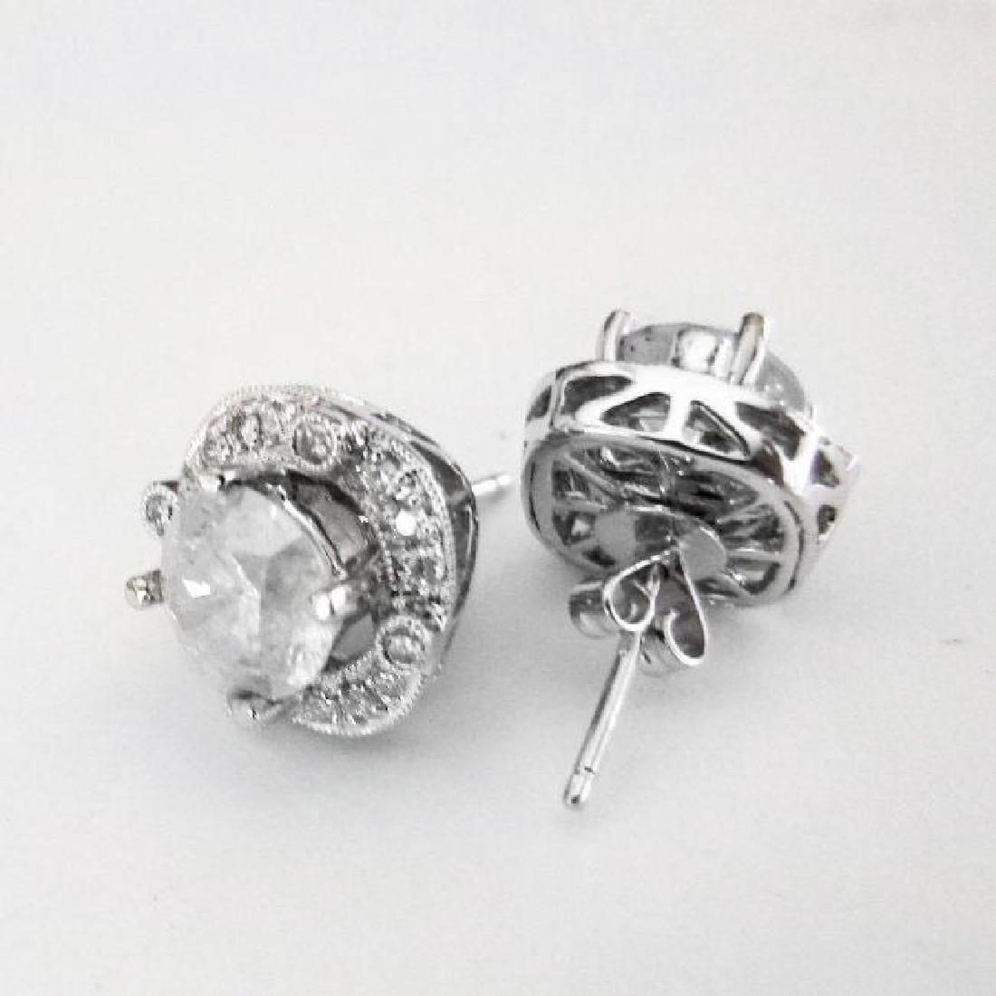 Jacket Stud Earrings Diamond 3.03Ct 18K White Gold - 5