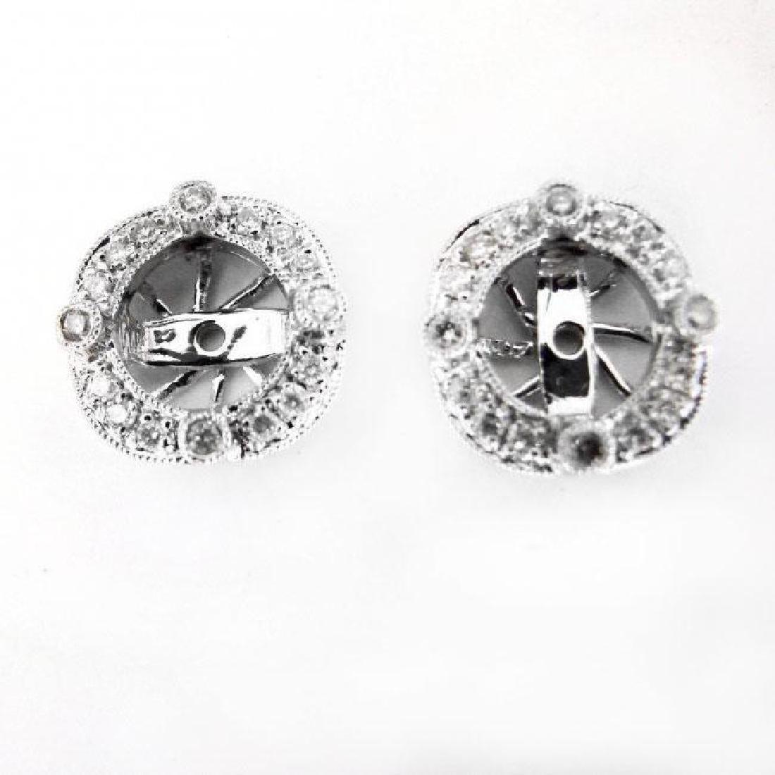 Jacket Stud Earrings Diamond 3.03Ct 18K White Gold - 6