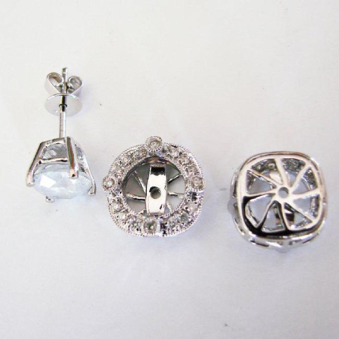 Jacket Stud Earrings Diamond 3.03Ct 18K White Gold - 7