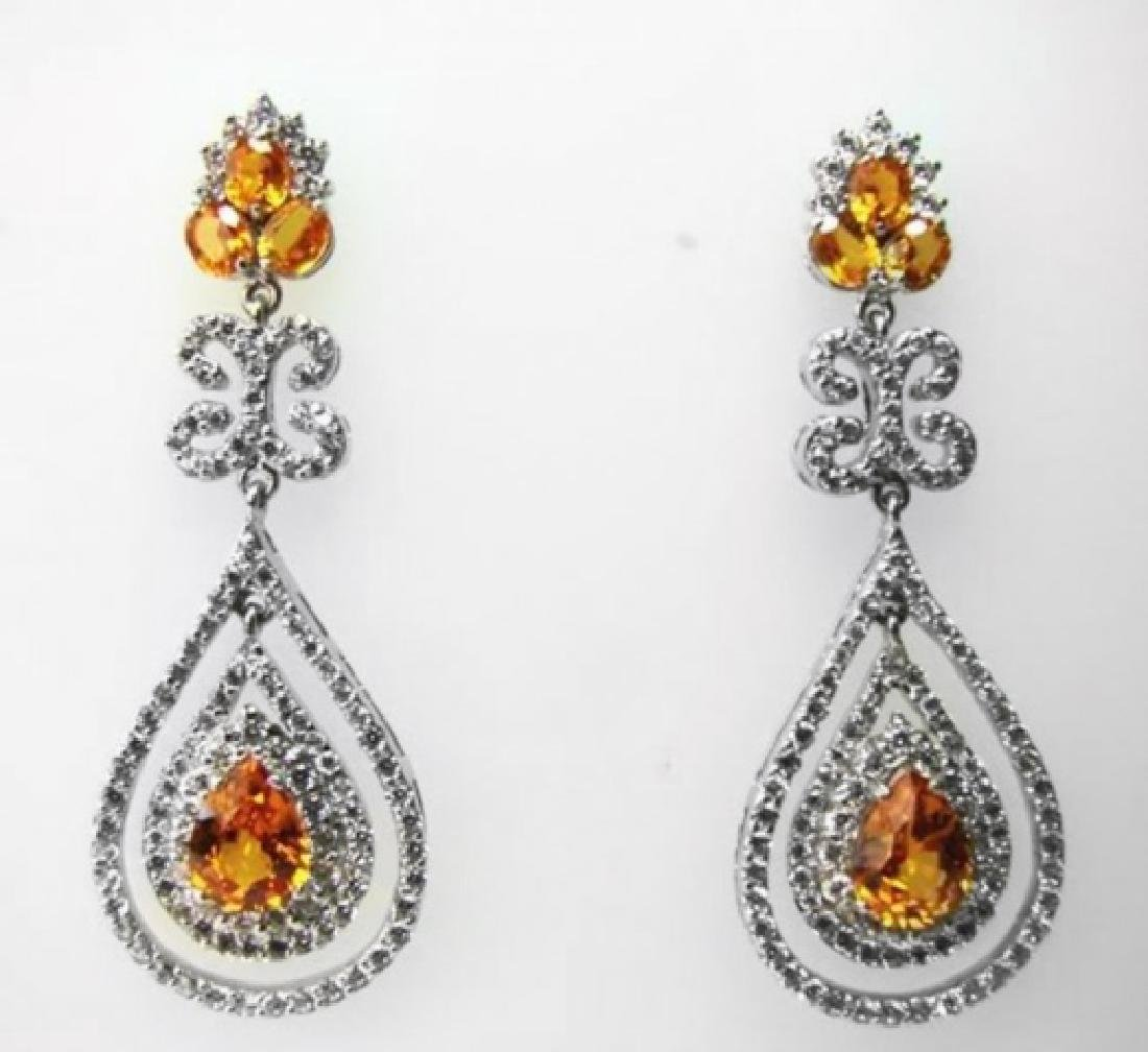Earring Citrine- Creation Dia:24.72Ct 14k W/g Over