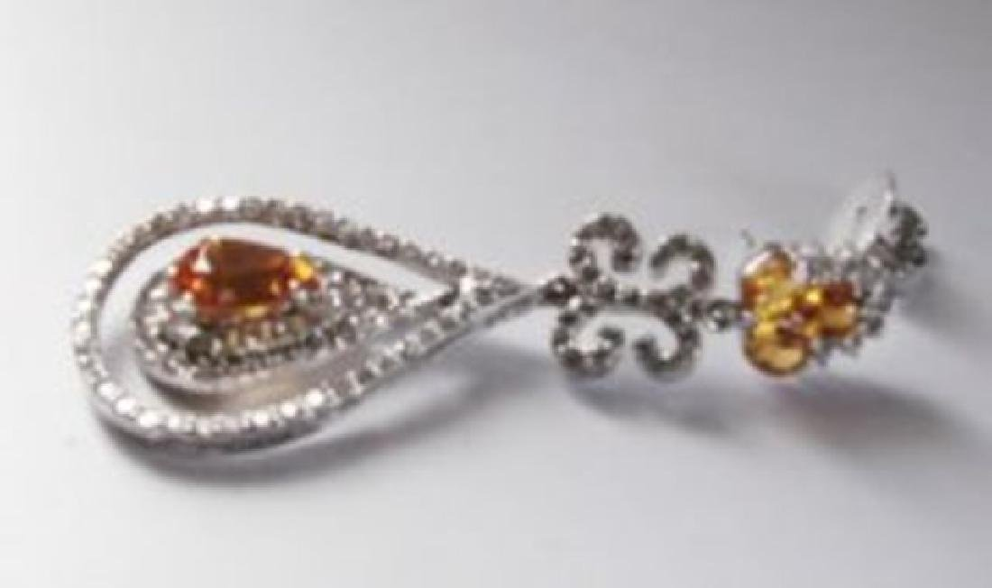 Earring Citrine- Creation Dia:24.72Ct 14k W/g Over - 2