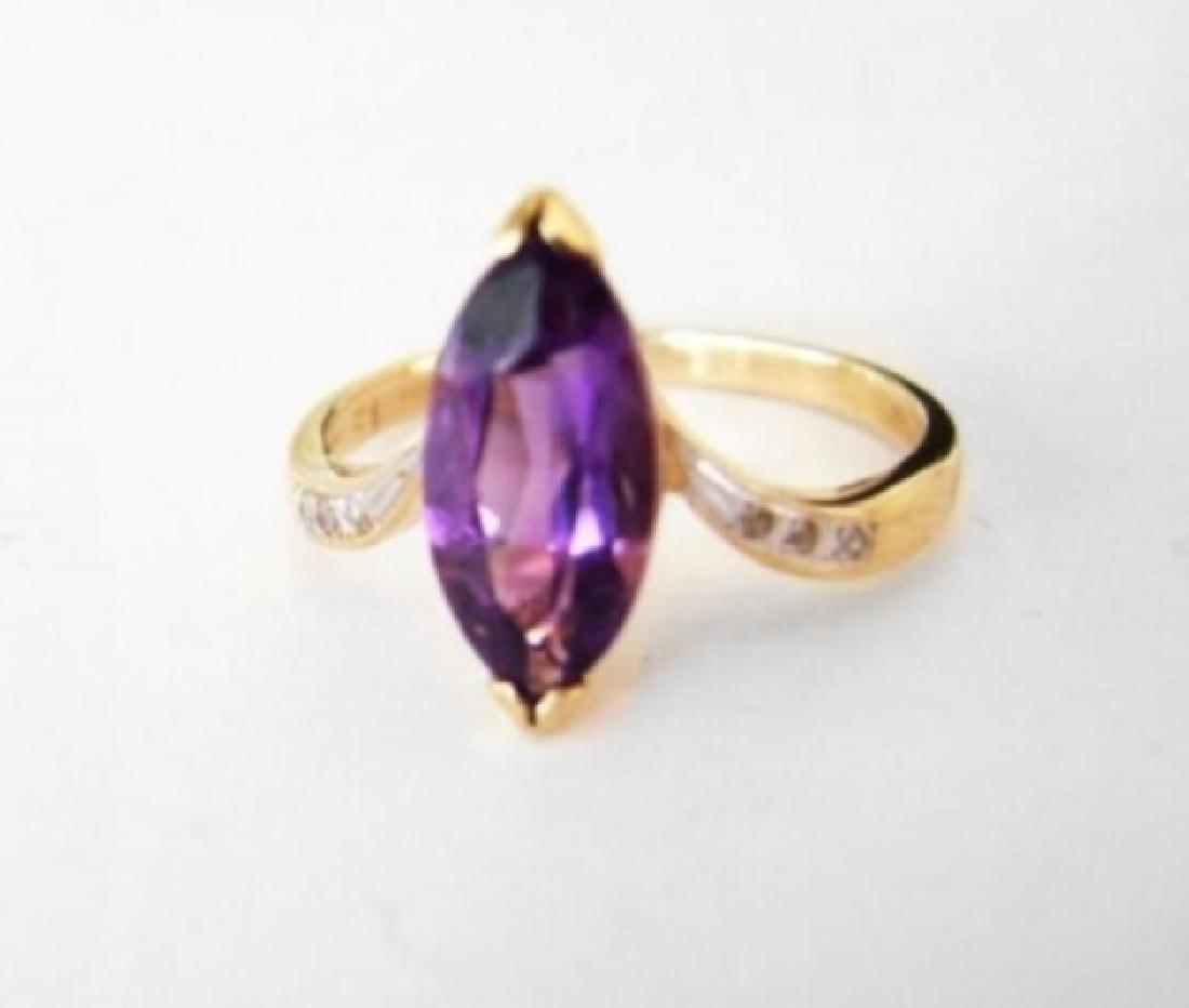 Amethyst: 1.90CT Diamond: .06CT Ring 14k Y/g