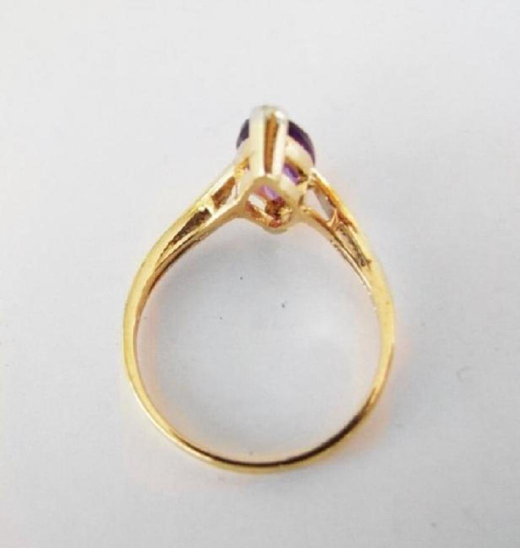 Amethyst: 1.90CT Diamond: .06CT Ring 14k Y/g - 3