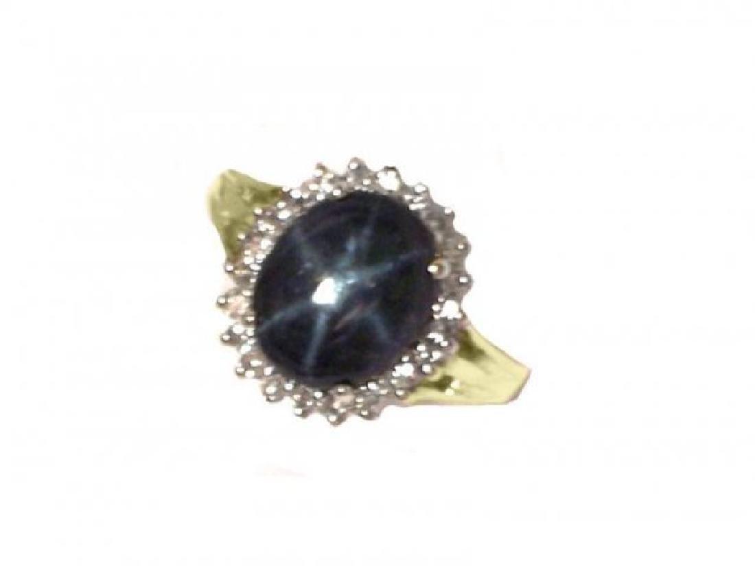 Blue Star Sapphire Ring: 3.57Ct: Dia.50Ct 14k Y/g - 2