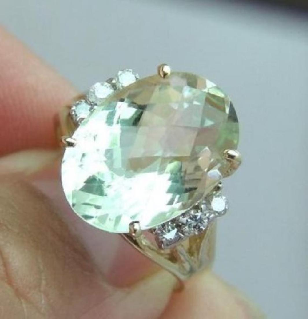 Green Amethyst Ring: 6.58Ct Dia: .40Ct 14k Y/g