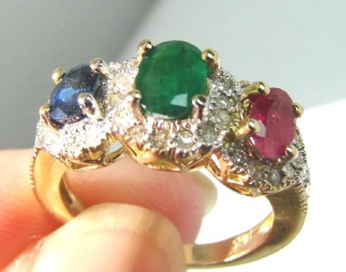Multi Colored Ring 2.10Ct Diamond:1.00Ct 14k Y/g - 2